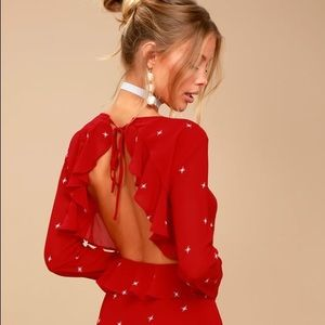 Constellations Red Backless Dress